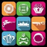 Iconos del juego del espacio blancos stock de ilustración