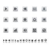 Iconos del jugador y del sonido Imagen de archivo libre de regalías
