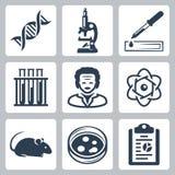 Iconos del laboratorio del vector fijados stock de ilustración