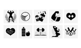 Iconos del levantamiento de pesas Imagenes de archivo