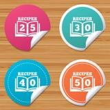 Iconos del libro de cocina Muestra del libro de cincuenta recetas Fotos de archivo
