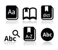 Iconos del libro del diccionario fijados libre illustration