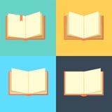 Iconos del libro en la línea estilo plana coloreada ilustración del vector