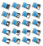 Iconos del libro fijados Imagen de archivo libre de regalías