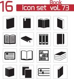 Iconos del libro negro del vector Stock de ilustración