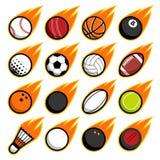Iconos del logotipo de las bolas del deporte del juego del vuelo del fuego del vector fijados libre illustration