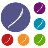 Iconos del machete fijados ilustración del vector