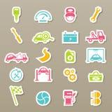 Iconos del mantenimiento del servicio del coche fijados stock de ilustración