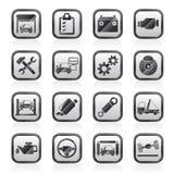 Iconos del mantenimiento del servicio del coche stock de ilustración