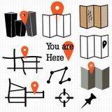 Iconos del mapa Fotos de archivo libres de regalías