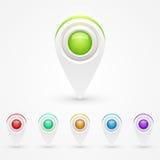 Iconos del mapa de color de GPS Fotografía de archivo libre de regalías