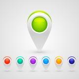 Iconos del mapa de color de GPS Fotos de archivo