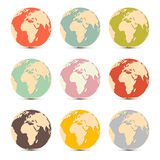 Iconos del mapa del globo del mundo de la tierra Foto de archivo libre de regalías