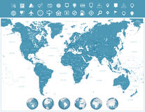 Iconos del mapa del mundo y de la navegación con los globos libre illustration