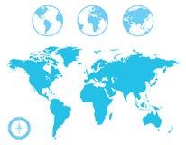 Iconos del mapa del mundo y del globo Foto de archivo libre de regalías