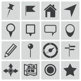 Iconos del mapa del negro del vector Ilustración del Vector