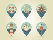 Iconos del mapa del Pin marinos Fotos de archivo