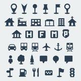 Iconos del mapa del vector fijados Imagen de archivo libre de regalías