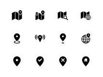 Iconos del mapa en el fondo blanco. GPS y navegación. libre illustration