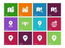 Iconos del mapa en fondo del color. GPS y navegación. Fotos de archivo libres de regalías