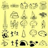 Iconos del mapa del RPG fijados stock de ilustración