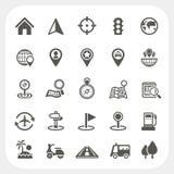 Iconos del mapa y de la ubicación fijados Imagenes de archivo