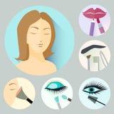 Iconos del maquillaje Imágenes de archivo libres de regalías