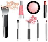 Iconos del maquillaje del vector fijados stock de ilustración