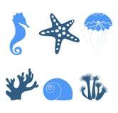 Iconos del mar Foto de archivo libre de regalías