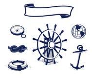 Iconos del mar fijados Fotos de archivo libres de regalías