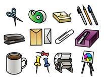 Iconos del material de oficina ilustración del vector