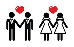 Iconos del matrimonio homosexual fijados stock de ilustración