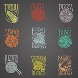 Iconos del menú de Disheses - estilo del Latino Fotos de archivo libres de regalías