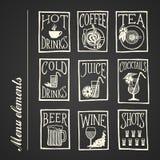 Iconos del menú de la pizarra - bebidas Imagen de archivo