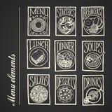Iconos del menú de la pizarra - comidas Imagen de archivo
