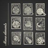 Iconos del menú de la pizarra - platos Fotos de archivo libres de regalías