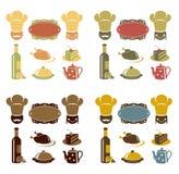 Iconos del menú del restaurante fijados Fotos de archivo libres de regalías