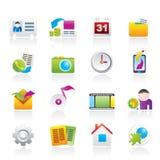 Iconos del menú del teléfono móvil ilustración del vector