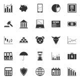 Iconos del mercado de acción en el fondo blanco Fotos de archivo