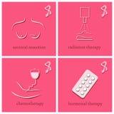 Iconos del mes de la conciencia del cáncer de pecho Fotos de archivo