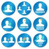 Iconos del miembro Imagen de archivo libre de regalías