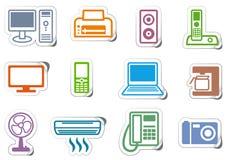 Iconos del mobiliario de oficinas stock de ilustración