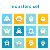 Iconos del monstruo fijados Foto de archivo