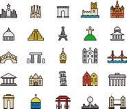 Iconos del monumento y del edificio Foto de archivo