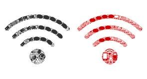Iconos del mosaico de la fuente del Wi-Fi para BigData libre illustration