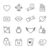 Iconos del movimiento del esquema de las tarjetas del día de San Valentín ilustración del vector