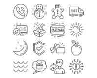 Iconos del muñeco de nieve, del hombre de pan de jengibre y de Sun Ondas, regalo y muestras libres de la entrega Regalo abierto,  libre illustration