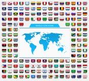 Iconos del mundo y de la bandera Fotografía de archivo libre de regalías