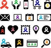 Iconos del negocio con las cintas de la conciencia Foto de archivo libre de regalías