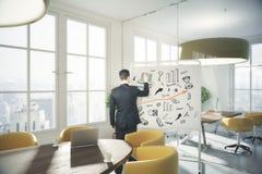 Iconos del negocio del dibujo del hombre imagen de archivo
